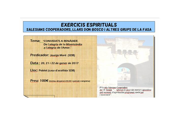 EXERCICIS ESPIRITUALS POBLET 2017